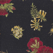 Australian Sun Native Flowers on Black Floral Quilting Fabric