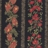 Australian Sun Banksia Grevillea Flowers on Black Quilting Fabric