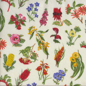Australian Wildflowers on Cream Quilting Fabric
