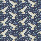 Cockatoos on Navy Australiana Soaring Birds Quilting Fabric