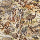 Australian Animals Koala Kangaroo Wombat Snake Echidna Dingo Quilt Fabric