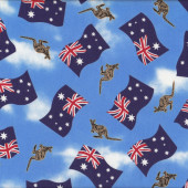Australian Flags Kangaroos on Blue Aussie Quilting Fabric