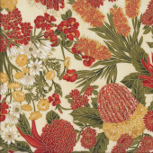 Australian Sun Orange Grevillea Bottlebrush Banksia Flowers on Cream Quilting Fabric