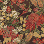 Australian Sun Grevillea Bottlebrush Banksia Flowers on Brown Quilting Fabric