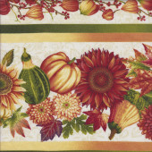 Sunflowers Pumpkins Border Quilting Fabric