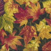 Yellow Orange Red Autumn Leaves Quilting Fabric