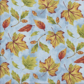 Autumn Leaves Acorns on Blue Nature Landscape Quilting Fabric
