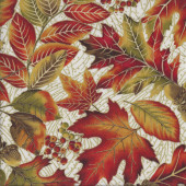 Autumn Leaves Acorns with Metallic Gold on Cream Landscape Quilting Fabric