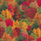 Autumn Trees Golden Yellow Red Green Landscape Quilting Fabric