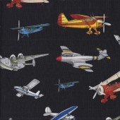 Aviator on Black Military Quilting Fabric