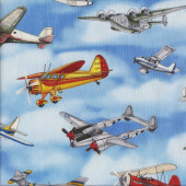Aviator on Blue Military Quilting Fabric