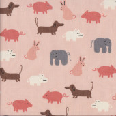 Dog Pig Elephant Rabbit Animals on Peach Quilting Fabric