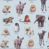 Baby Animals With Names on Blue Wildlife Quilt Fabric