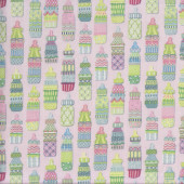 Baby Sprinkles Cute Bottles on Pink Quilting Fabric