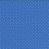 Baby Talk Love Hearts on Blue Quilting Fabric