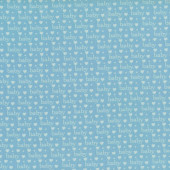 Baby Talk Love Hearts on Light Blue Quilting Fabric