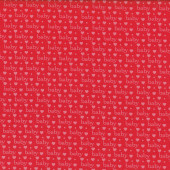Baby Talk Love Hearts on Red Quilting Fabric