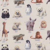Baby Animals With Names on Cream Wildlife Quilt Fabric