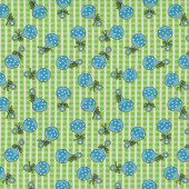 Baby Talk Blue Rattles on Green and White Quilting Fabric