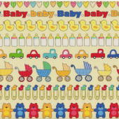 Prams Teddy Bears Ducks Love Hearts Baby Talk on Yellow Quilting Fabric