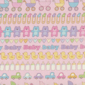 Prams Teddy Bears Ducks Love Hearts Baby Talk on Pink Quilting Fabric