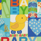 Baby Talk Bright Blue Green Pram Love Hearts Duck Quilting Fabric
