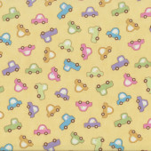 Cute Cars on Pastel Yellow Baby Talk Kids Quilting Fabric
