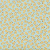 Yellow Ducks on Pastel Jade Green Baby Talk Quilting Fabric
