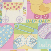 Baby Talk Pastel Yellow Pink Pram Love Hearts Duck Quilting Fabric