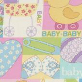 Baby Talk Pastel Yellow Pink Pram Love Hearts Duck Quilting Fabric