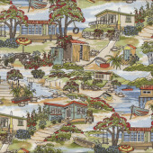Retro Holiday Homes Beach Landscape New Zealand NZ Quilt Fabric
