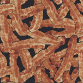 Bacon on Black Kitchen Quilting Fabric