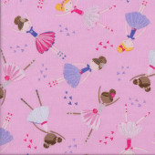 Ballerina Girls Ballet on Pink Hearts with Metallic Silver Quilting Fabric