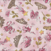 Ballet Slippers Tiaras Stars Roses Girls Quilt Fabric