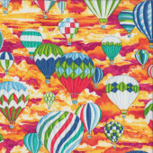 Colourful Hot Air Balloons on Orange Sky Kids Quilting Fabric
