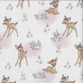 Bambi Thumper on White Deer Rabbit Licensed Quilting Fabric