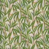 Bamboo on Beige with Tiny Butterflies Plant Landscape Quilting Fabric