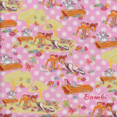 Bambi on Pink Spots Deer Skunk Disney Licensed Quilting Fabric