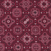 Bandana Design on Burgundy Quilting Fabric