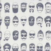 Mens Moustaches Sunglasses Barber Shop on Natural Quilting Fabric