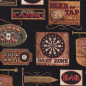 Bar Room Signs Man Cave Cards Darts Mens on Black Quilt Fabric