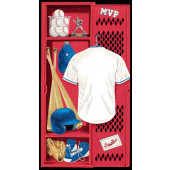 Baseball Player Locker Uniform Gloves Trophy Sport Quilting Fabric Panel