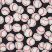 Baseball Balls on Black Sport Quilting Fabric