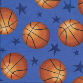 Basketballs on Blue Stars Sport Quilting Fabric