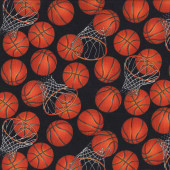 Basketballs Hoops Quilting Fabric