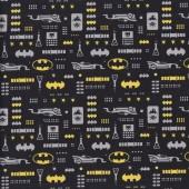 Batman Icons on Black DC Comics Licensed Quilting Fabric