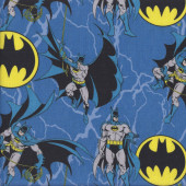 Batman Bat Symbol on Blue DC Comics Licensed Quilting Fabric