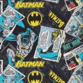 Batman Comic on Black DC Comics Bats Licensed Quilting Fabric