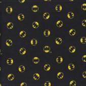 Batman Symbols in Circles on Black DC Comics Bats Licensed Quilting Fabric