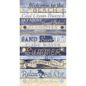 Beach Sand Ocean Shells Summer Quilting Fabric Panel